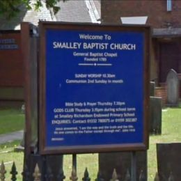 Smalley Baptist Church sign title=